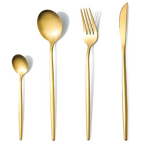 COPOTI - Juego de cubiertos con acabado en oro mate, 24 piezas, mango fino de acero inoxidable cepillado, color dorado, cuchillo, tenedor, cuchara. Cubertería para 6 personas