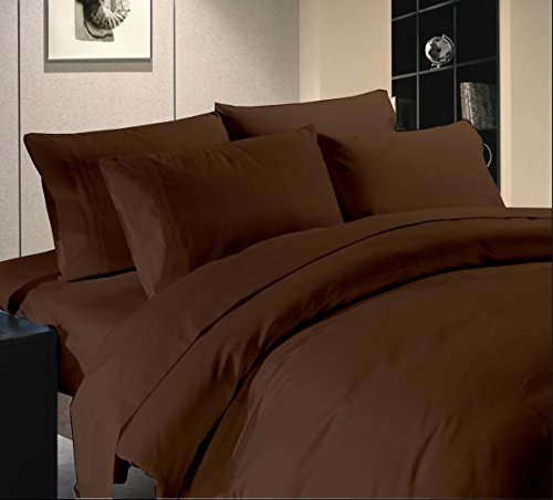 Tula Linen 1000Hilos 3Piezas Juego de Funda nórdica sólido (Chocolate, Euro Rey IKEA tamaño) 100% algodón Egipcio Premium Calidad