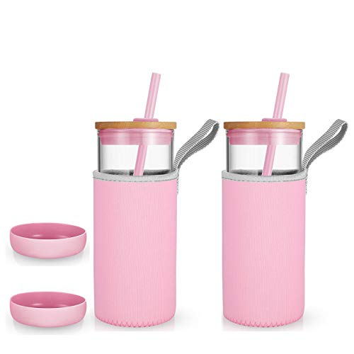 tronco 20oz Glass Tumbler Glass Water Bottle Straw Silicone Pedestal Sleeve Bamboo Lid With Removeable Soft Insulator Sleeve - BPA Free