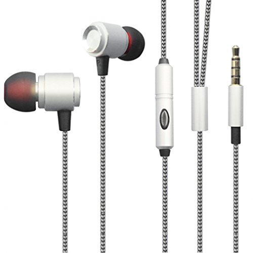 Premium Sound Quality Wired Headset Metal Earbuds Microphone for Samsung Galaxy J1 J3 J5 J7, Grand Prime - LG Volt 2, Tribute 2, Escape 2 - ZTE Overture 2, ZMAX, ZMAX+, Nubia Z9 - ASUS Zenfone, 2