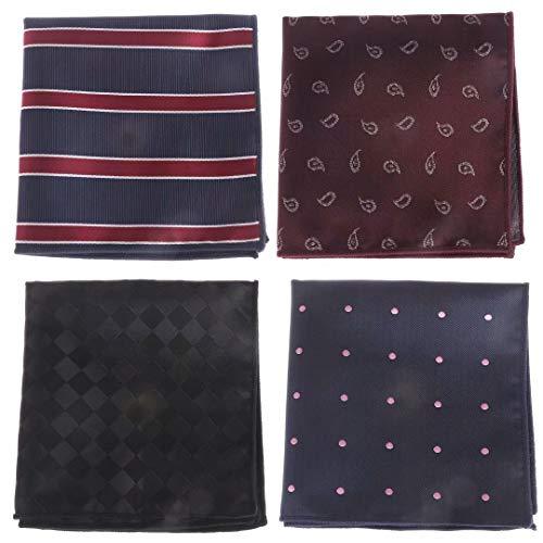 RUIYELE 4 piezas traje de seda floral de rayas bolsillo cuadrado pañuelo para hombre bolsillo cuadrado pañuelo varios colores para la oficina, boda, fiestas (23 x 23 cm)