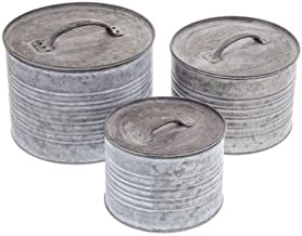 Anya Nana Ideal Farmhouse Antique Style Galvanized Metal Round Box Set of 3 w/Lids Country Home