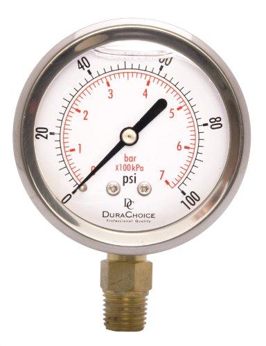 DuraChoice 2-1/2' Oil Filled Pressure Gauge - Stainless Steel Case, Brass, 1/4' NPT, Lower Mount...