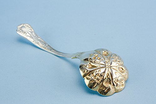 Vintage Opulent Silver Plated Metal SERVING SPOON Fruits And Berries Cutlery Neo-Classical Medium English 1920s LS