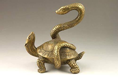 YANGYUE Elaborado Coleccionable Chino Decorado Antiguo Trabajo Hecho a Mano Cobre Serpiente Tortuga Estatua propicia