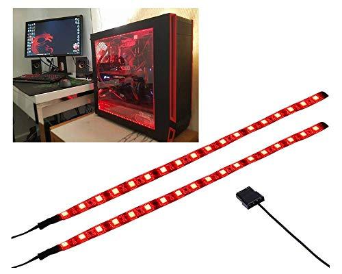 Miwatt PC Bande d'éclairage d'ordinateur bleu LED flexible avec kit de lumières magnétiques pour boîtier d'ordinateur (2X30 cm, série S) (rouge)