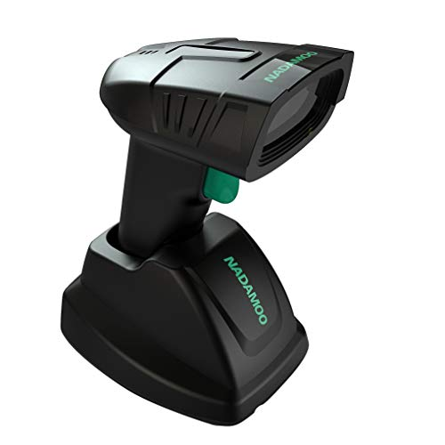 NADAMOO Wireless Barcode Scanner with Charging Cradle, 400M Long Transmission Distance, 1D Cordless USB Portable Handheld Laser Bar Code Reader for Computer PC POS Warehouse Inventory Supermarket 3d barcode scanner
