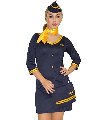 MAYLYNN 14142 - Kostüm Stewardess Flugbegleiterin mit Tasche, Größe:M