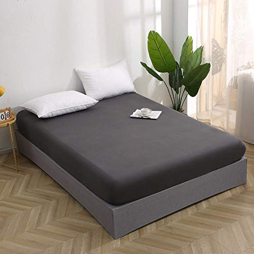 Nuoxuan Luxury Soft King Size Sheet,Cotton solid color sheetnon-slip protective cover for single and double beds in hotel apartments-gray_120*200cm