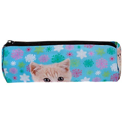Federmäppchen mit niedlichem Katzenglocken, blau, mit Reißverschluss, für Schreibwaren, Reisen, Schule, Studenten