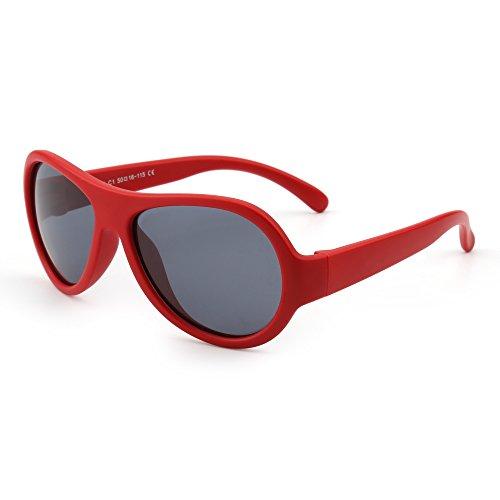 JM JM Kinder Gummi Polarisiert Sonnenbrille Unzerbrechlich Mädchen Jungen Alter 3-12(Matt Rot/Grau)