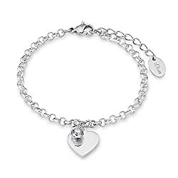 s.Oliver Armband mit Anhänger für Damen Herz, Edelstahl