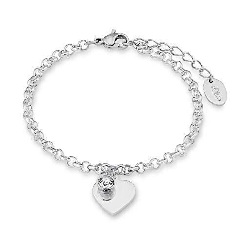 s.Oliver Armband mit Anhänger für Damen, Edelstahl, Kristallglas Herz