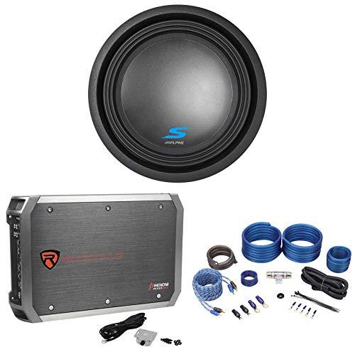 "Alpine S-W12D2 12"" 1800 Watt Dual 2-Ohm Car Subwoofer+Mono Amplifier+Amp Kit"