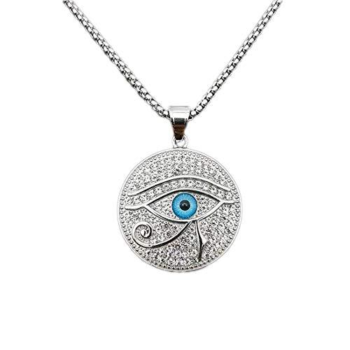 Easondea Auge des Horus Halskette Udjat Auge Anhänger mit 55cm Kette Horusauge Ägyptischen Religiöser für Herren Damen Edelstahl Schmuck