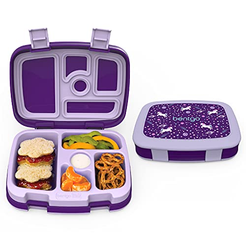 Bentgo Kids Prints (Unicorn) - Leak-Proof  5-Compartment Bento-Style Kids Lunch Box - Ideal Portion Sizes for Ages 3 to 7 - BPA-Free and Food-Safe Materials