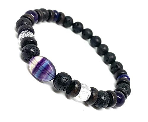 Unisex Gemstone Aromatherapy Bracelet/Oil Diffuser/Aids Mental Focus, Clarity, Anti Anxiety, Stress Relief/Lava Stones/Purple Fluorite/Lapis/Amethyst/Crystal Quartz