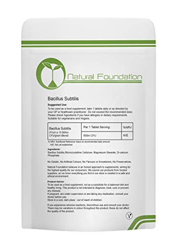 Bacillus Subtilis 500 cfu - Daily Probiotic, Friendly Bacteria UK, Healthy Gut | Natural Foundation Supplements (3 Tablet Sample)