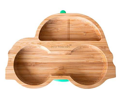 eco rascals Platos de bambú natural para bebé pequeño, placa de succión en forma de coche, placa de alimentación para destete con dos secciones grandes, base de succión desmontable, color rosa