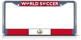 Taneed License Plate Frame Peru Soccer Team Metal License Plate Car Tag Frame