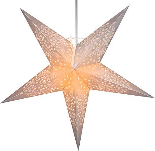 Guru-Shop Faltbarer Advents Leucht Papierstern, Weihnachtsstern 60 cm - Marinus Silver, Star Fensterdeko, 5 Spitzen
