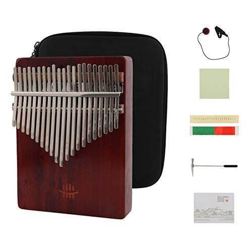 Kalimba 21 Teclas, Welltop Piano de pulgar, Pulgar Piano 17 Claves, Kalimba Africana Thumb Piano, Mbira Finger Piano Sanza Caoba Thumb Instrumento con Martillo de Afinación e Instrucción de Estudio