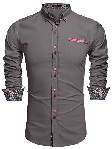 Coofandy Men's Fashion Slim Fit Dress Shirt Casual Shirt, 01-gray, X-Large