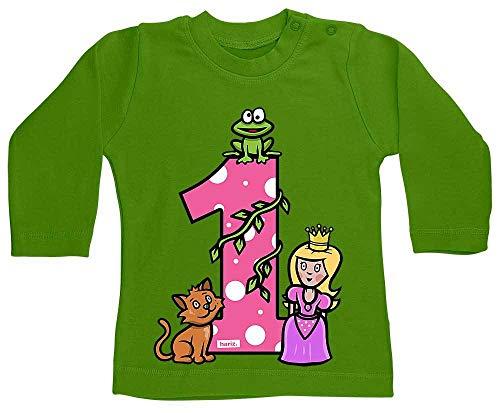 Hariz - Camiseta de manga larga para bebé, diseño de princesa de cuento de cuento de cuento de princesa para 1 cumpleaños, color verde lima 6-12 meses