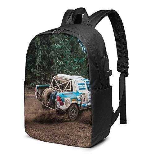 School Bag Back Pack,Laptop Backpack with USB Port White Blue Pickup Truck Drifting, Business Travel Bag, College School Computer Rucksack Bag for Men Women 17 Inch Laptop Noteb