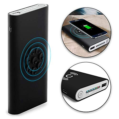 CELLONIC® Wireless 2in1 Powerbank 8000mAh mit Saugnapf kompatibel mit Qi - iPhone 11, 11 Pro, Xs, Xs Max, Xr, Galaxy S10, S10e, S10+, Mate 20 Pro, Externer Akku USB Ladegerät Batterie kabellos