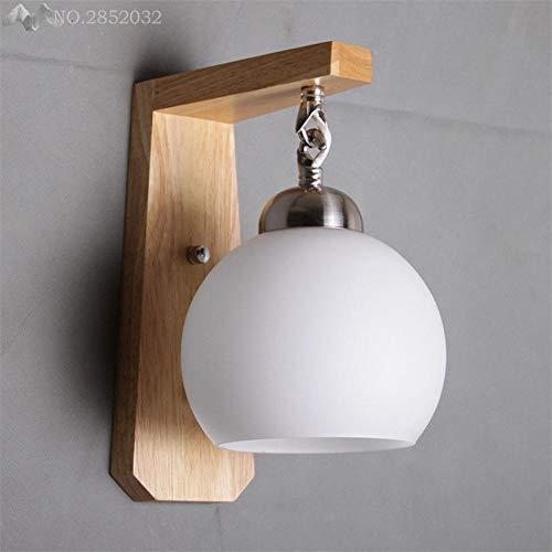 Moderne transparante glazen lampenkap Scandinavische creatieve houten muur lamp slaapkamer nachtkastje huis verlichting