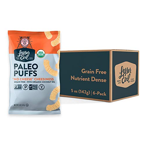 LesserEvil 'No Cheese' Cheesiness Organic Paleo Puffs, No Artificial Ingredients, Grain Free, Vegan, Pack of 6, 5 oz Bags