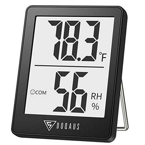 DOQAUS Indoor Thermometer, Room Thermometer for Home, Humidity Gauge Digital Hygrometer, Accurate Temperature Humidity Monitor with 3 Mounting Options for House, Office, Greenhouse,Humidors