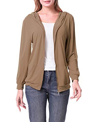 Doublju Women#039s Front Pocket Zipup Lightweight Hoodie with Plus Size Mocha L