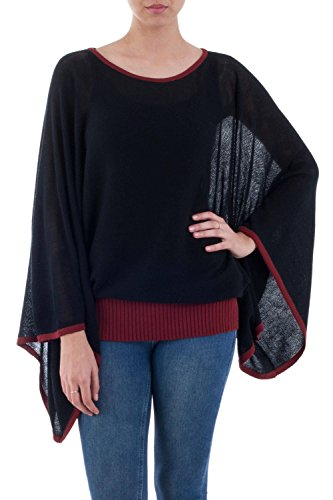 NOVICA Black Alpaca Blend Sweater, Black Burgundy Dance'