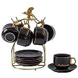 Taza de café con platillo Tazas de té, té tazas y platillos conjunto de 6, juego de té, platillos Set, porcelana tazas de té de café de cerámica de té Neceseres titular de ajuste de café con el metal