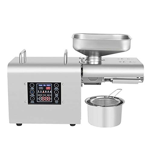 Automatic Oil Press Machine Stainless Steel Presser Intelligent Control Hot/Cold Oil Press for Nuts Walnut Linseed Olive Kernel Almond Rapeseed Sesame (200W)