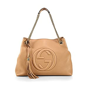 Fashion Shopping Gucci Camelia Camel Pebbled Leather Soho Shoulder Hand Bag Tassel