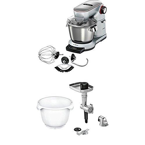 Bosch MUM9AX5S00 Optimum Küchenmaschine (1500 Watt, mit integrierter Waage, SensorControl Plus, 5,5 Liter, Edelstahl-Rührschüssel) platinum silber + MUZ9BS1 Zubehör für Küchenmaschinen