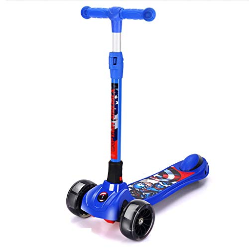 Scooter Anti-Rollover Kick Scooter para niños - Wide Whide Deck PU Wheels Flashing Wheels Great Kids Scooter y Niño -Adiente Justible Scooter 3-12 años Patinetes (Color : Blue)