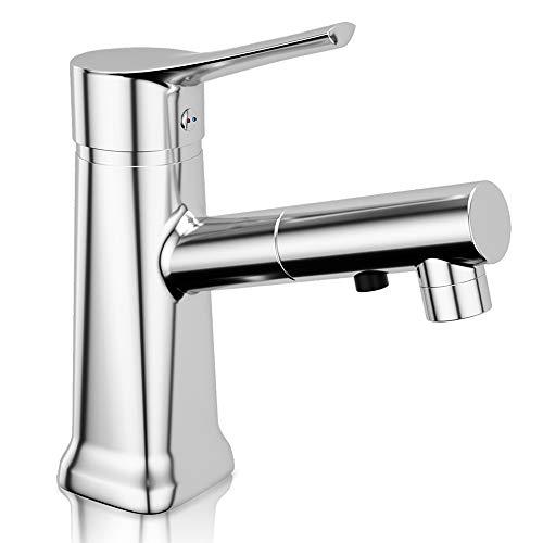 Grifo para el lavabo, grifo mezclador para la cocina y extracción con manivela singula y rotacción y tubos preparados sin faltas y acabado en latón.