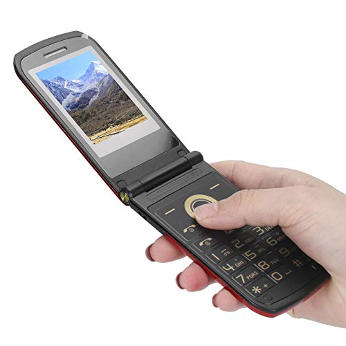 EBTOOLS1 Teléfono Celular con Pantalla de 2.4 Pulgadas, teléfono con Doble Modo de Espera, Mini teléfono móvil con Tapa, teléfono Celular con Llave Grande, teléfono Celular con Larga Espera(Rojo)