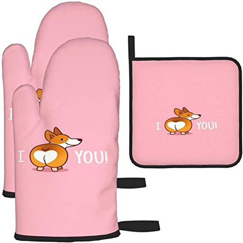 MODORSAN Funny Corgi Oven Mitts and Pot Holders Non Slip Heat Resistant Kitchen Oven Gloves for Cooking,Baking,Grilling,Barbecue