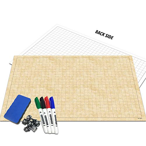 "RPG Battle Grid Game Mat | 24"" x 36"" Double Sided 