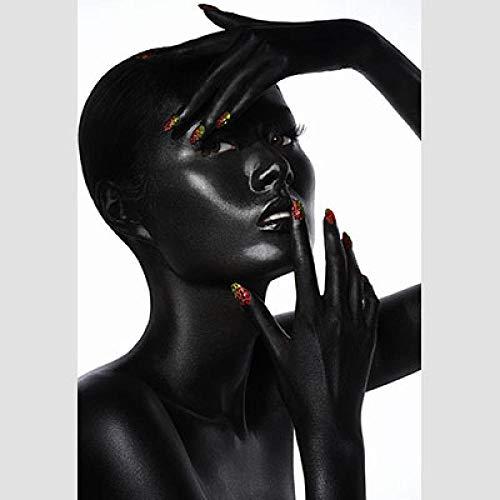 Pintura de fama Mundial Mediados de Oro Negro Mujeres africanas Modelo de Pintura Decorativa Luz Sofá de Lujo Fondo Pared Arte Lienzo Decoración para el hogar 40X60 cm sin Marco