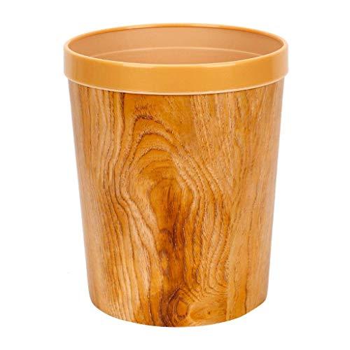 LZZB Juego Combinado de papeleras, Papelera de Reciclaje de residuos, Papelera de plástico, Papelera de Oficina Redonda de imitación de Grano de Madera, Papelera de Basura sin tapar, Papelera de