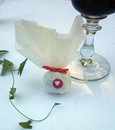 Die Seedball-Manufaktur, hubabuba Seedball Gastgeschenk mit Herz, Weißes Seidenpapier mit rosafarbener Bastschleife, 2,5 x 2,5 x 6 cm