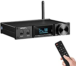 AIYIMA D05 Bluetooth 5.0 Power Amplifier 120Wx2 Stereo HiFi 2.1 CH Digital Sound Amplificador 24Bit/192kHz Class D Amp USB DAC Coaxial Optical OLED AptX, Support Subwoofer & with Remote