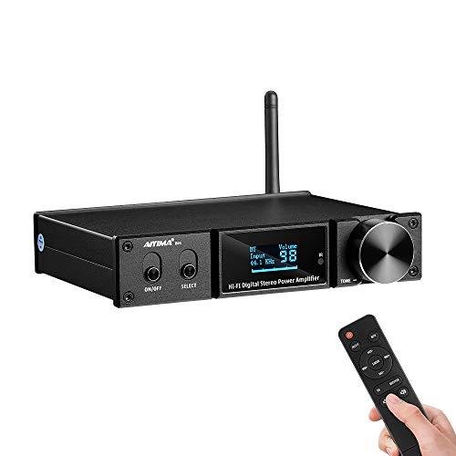 AIYIMA D05 Bluetooth5 OLED 120Wx2 Stereo-Digital-Leistungsverstärker HiFi 2.1CH 24Bit / 192kHz Klasse D Amp USB DAC Koaxiale optische Unterstützung APTX Subwoofer
