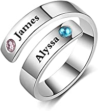 Personalized Promise Rings for Her Free Engraving Spiral Twist Name Ring with 2 Simulated Birthstones Jewelry Ring Gifts for Women Girlfriend (Silver)